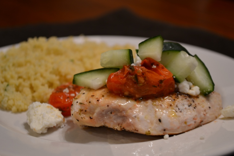 chicken with tomatoes, feta, & cucumbers